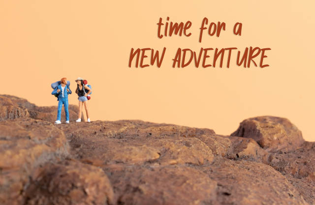 Two hikers and Time for a new adventure text