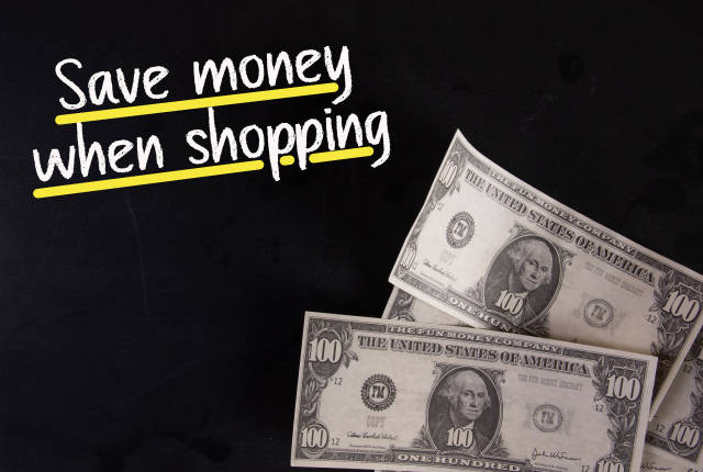 Dollar banknotes with Save money when shopping text