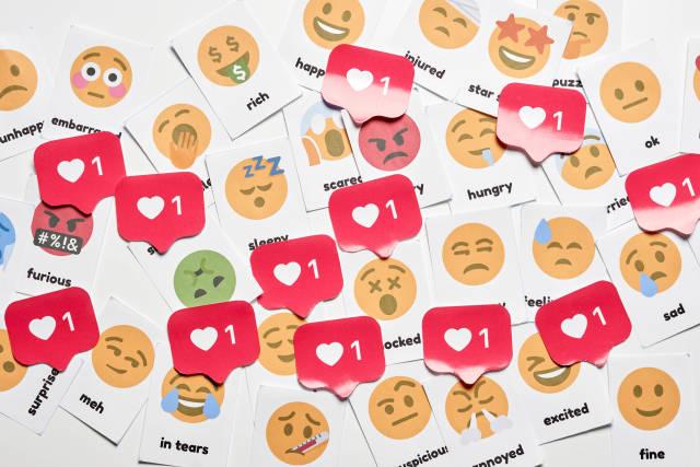 Pile of various social media emotions