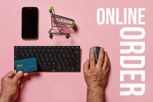 Online order - a person ordering grocery in online store
