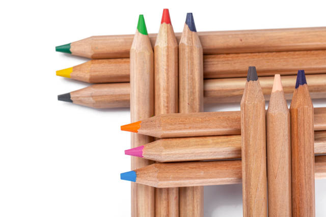 Colored pencils for drawing in various colors