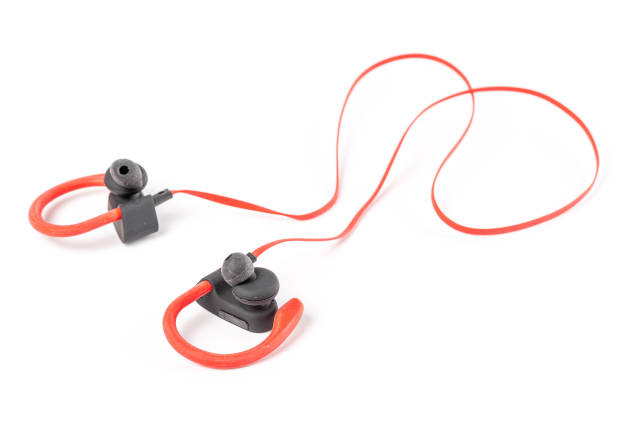 Sports red-black headphones on a white background