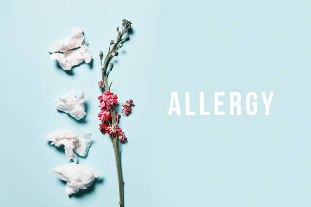 Allergy season - a flower and used tissues on bright background