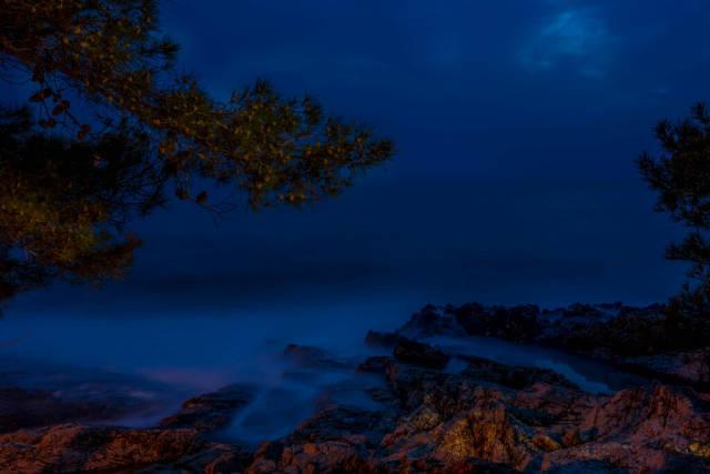 Night photo of the rocks on island Losinj, Croatia