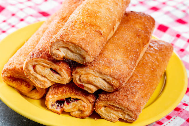 Baked strudel on a plate