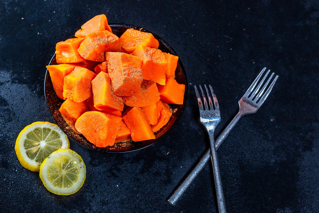 Sweet and healthy baked pumpkin dessert
