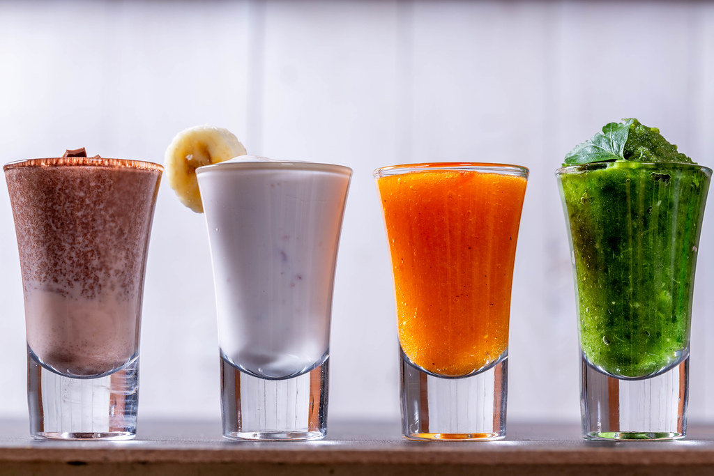 The background of a diet with smoothies