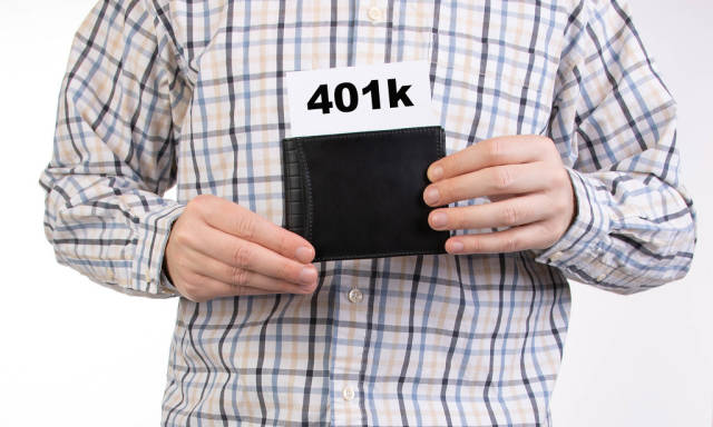 Man in shirt holding wallet with 401k text