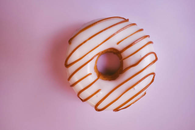 Pink caramel donut