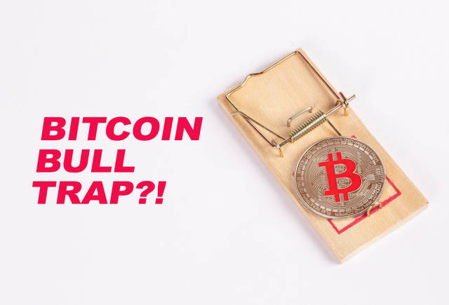 Bitcoin caught in mouse trap with text Bitcoin bull trap