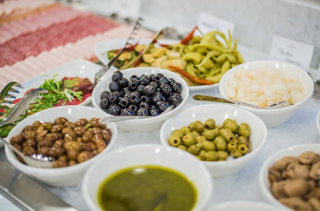 Different olives in hotel breakfast
