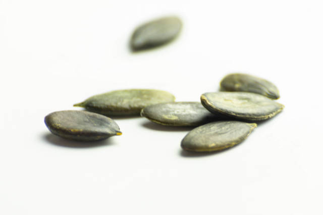 Scattered pumpkin seeds on a white background