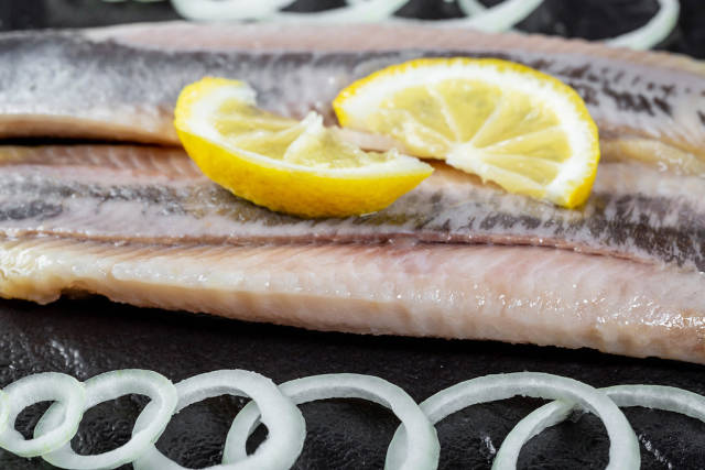 Fillet of pickled herring without skin and without bones