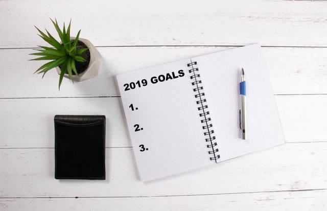 List of 2019 goals written in notebook