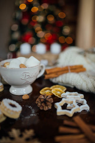Sweet Christmas decorations and catering