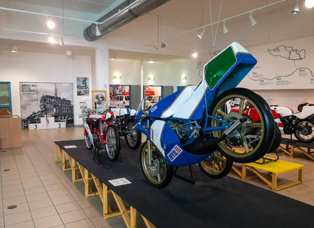 Historical motorcycles in technical museum in Brno