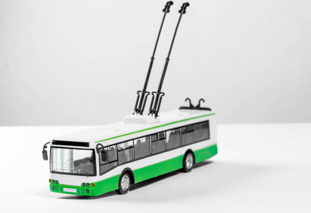 Toy plastic model of a trolley bus