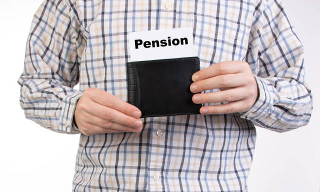 Man in shirt holding wallet with pension text