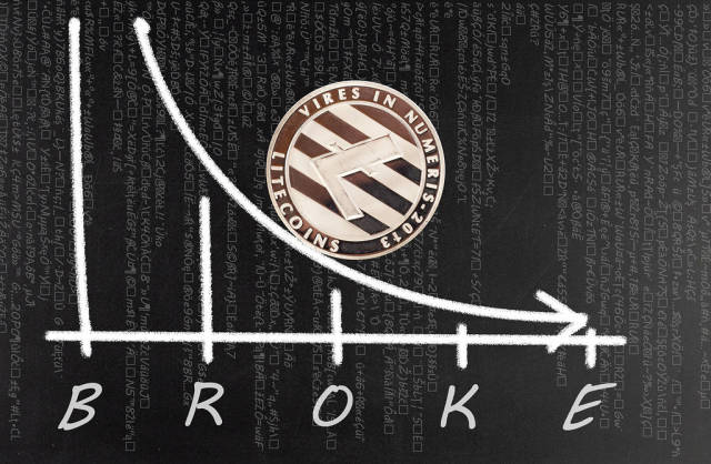 Litecoin with falling graph and broke text