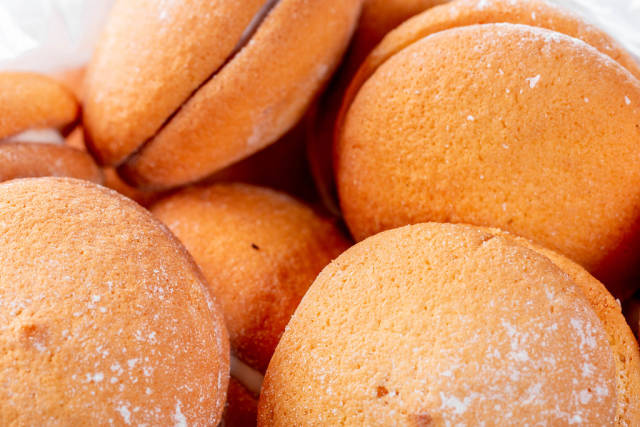 Round cookies with coconut close-up
