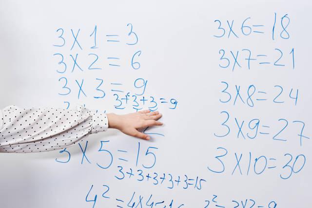 Young teacher explaining tricks for multiplication