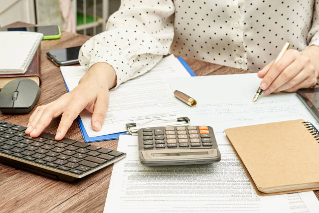 Accountant working on computer