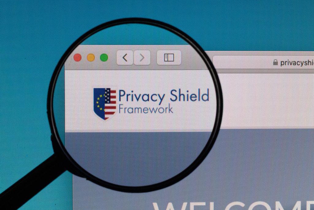Privacy Shield Framework logo under magnifying glass