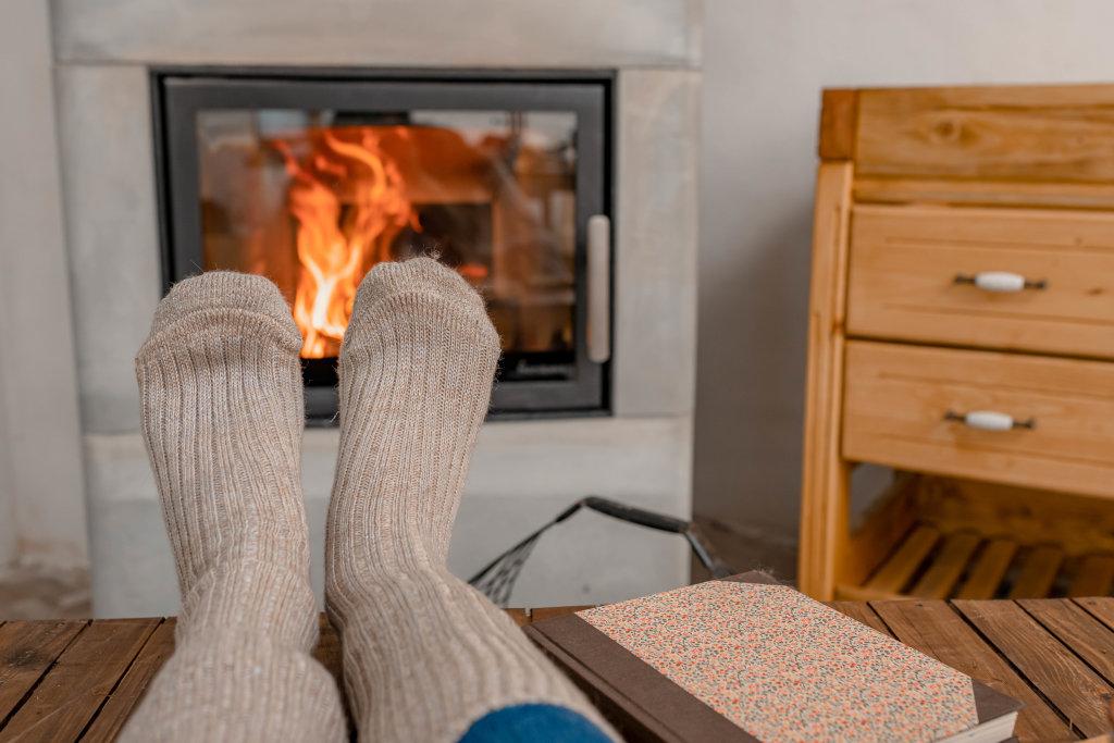 Briw Wool Socks Near Fireplace