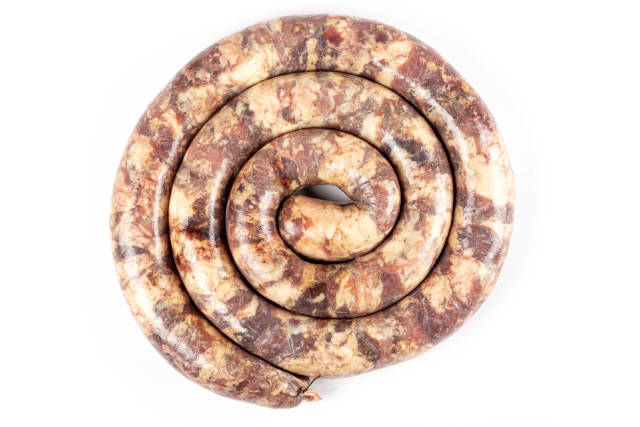 Homemade sausages spiral form, top view