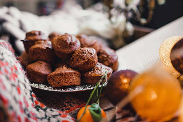 Chocolate Muffins On Winter Hygge Set With Lights