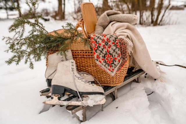 Winter Vintage Skates With Basket