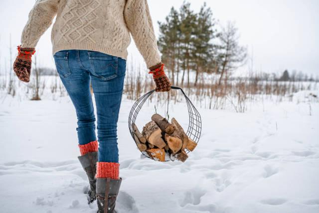 Picking Wood Billets For Fireplace Wintertime.jpg
