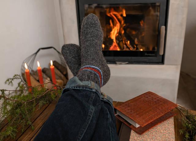 Winter Wool Socks Near Fireplace