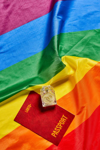 LGBTQ+ people marriage, wedding concept with passport, ring and rainbow flag