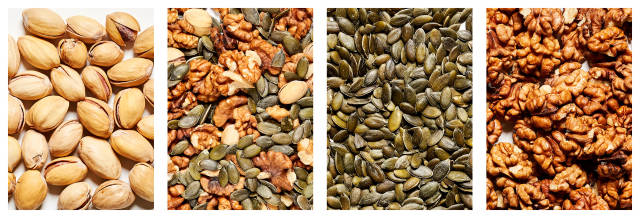 Assorted healthy food background - nuts and seeds