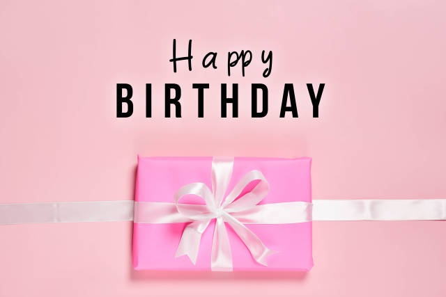 Happy birthday card with a gift box