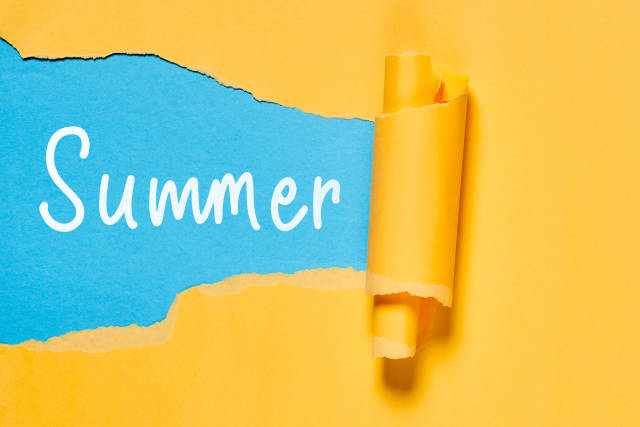 Summer text on the torn paper
