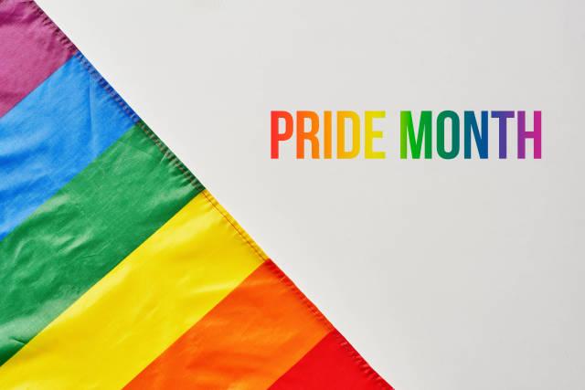 LGBT Pride Rainbow Flag on grey background