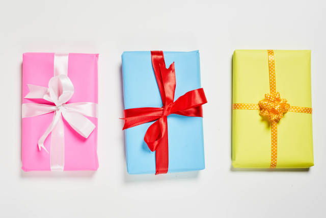 Three gift boxes packaged on the white background