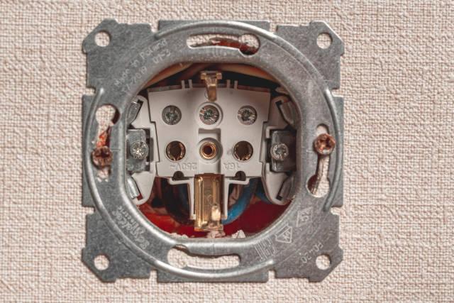 Wall socket during installation, close up