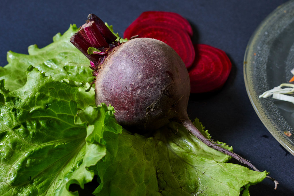 Close-up view of a fresh raw beet