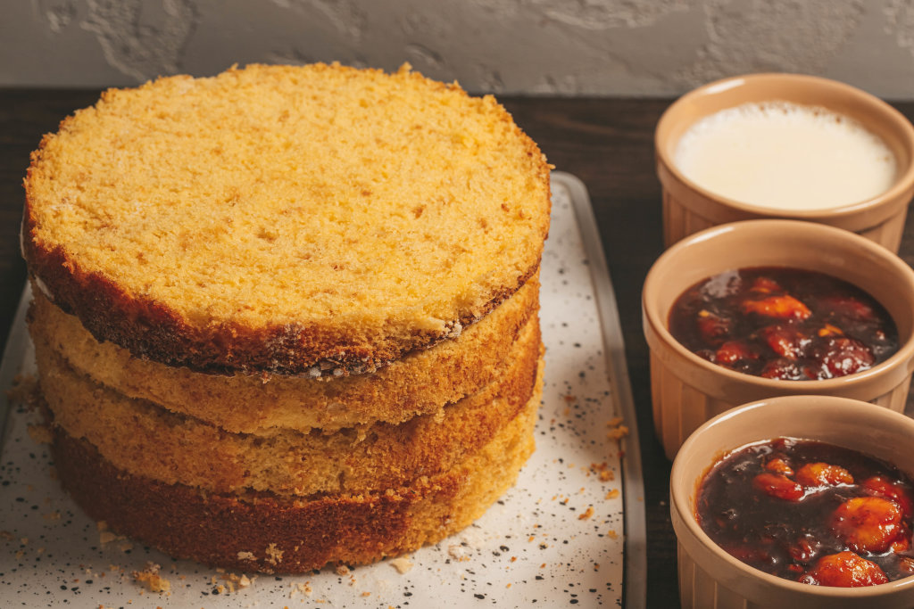 Sponge cakes and ingredients for cake
