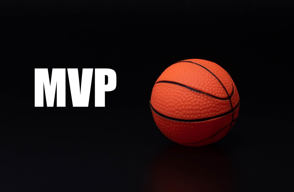Basketball ball with MVP text on black background