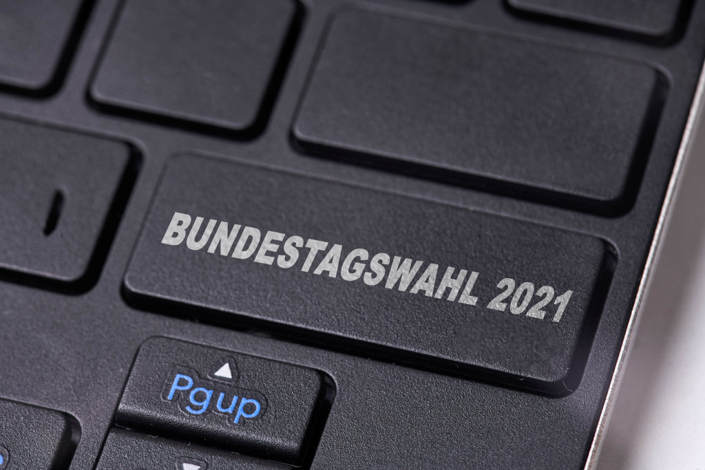 Bundestagswahl 2021 on keyboard. Bundestag Elections in Germany