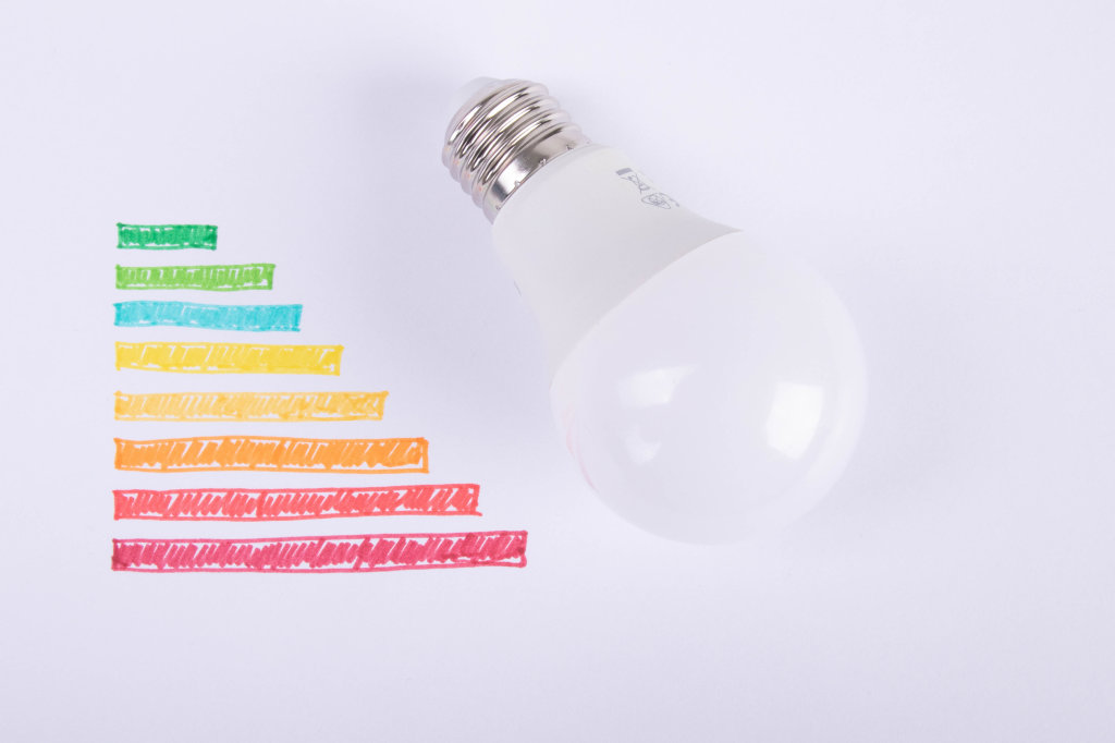 Energy rating chart with lightbulb on white background