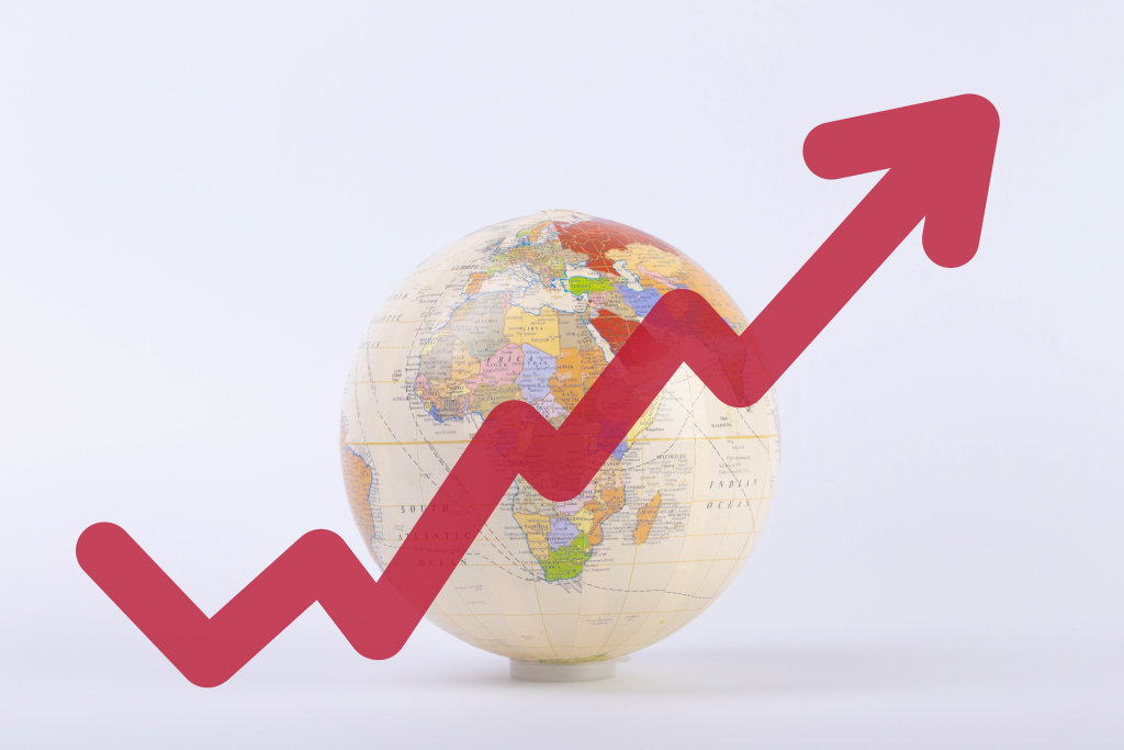 Globe with rising graph