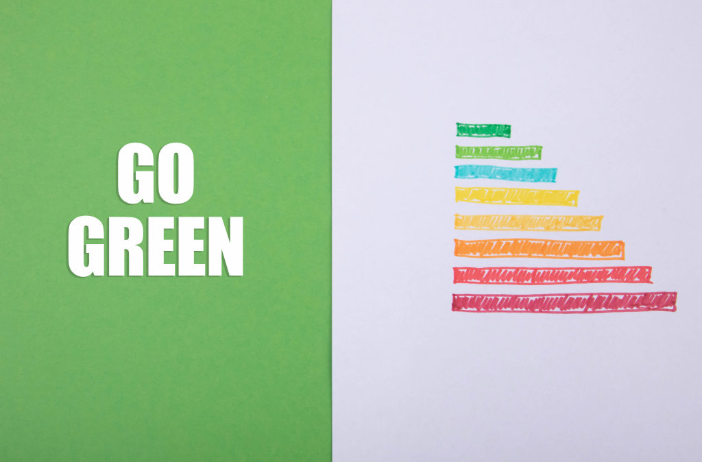 Energy rating chart with Go Green text