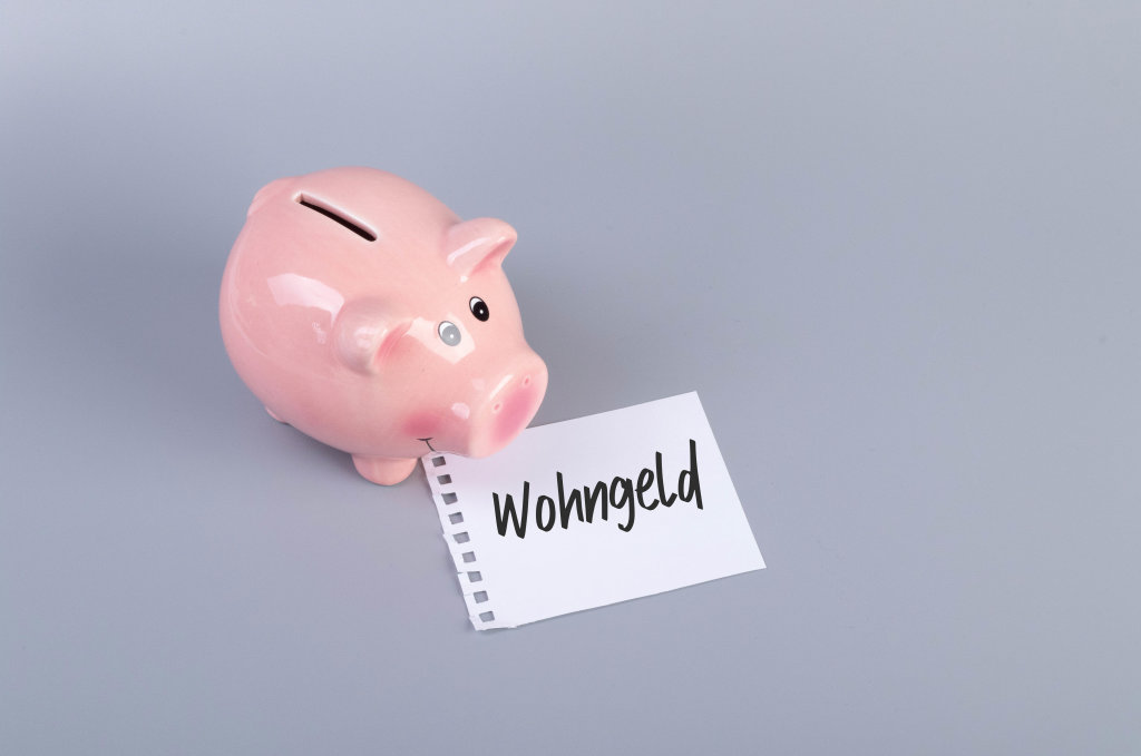 Piggybank with Wohngeld text