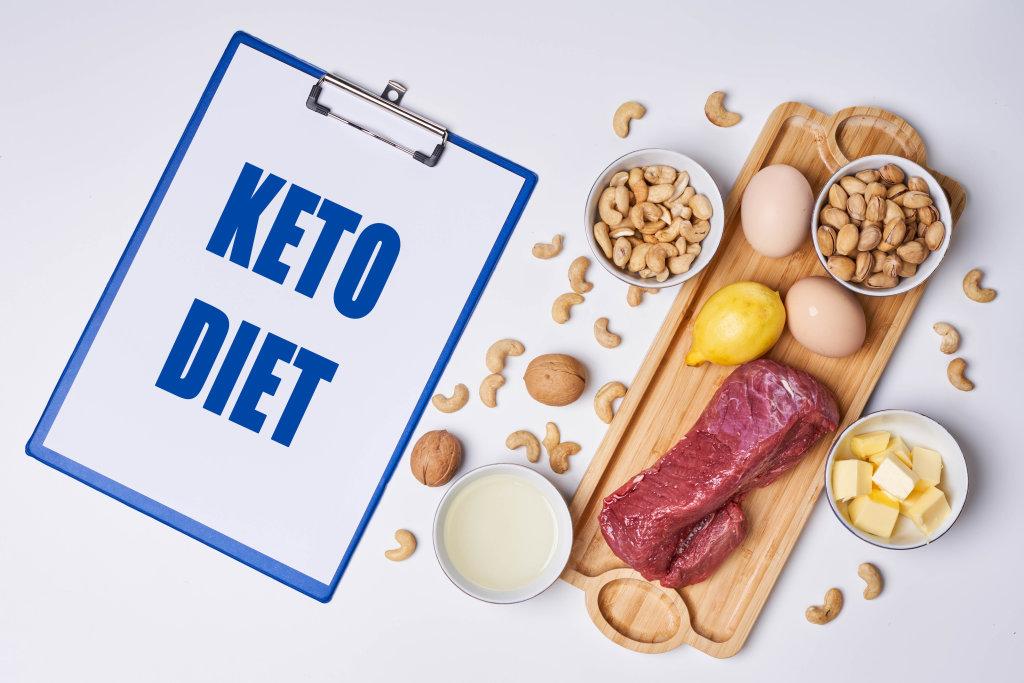 Keto diet food ingredients on white