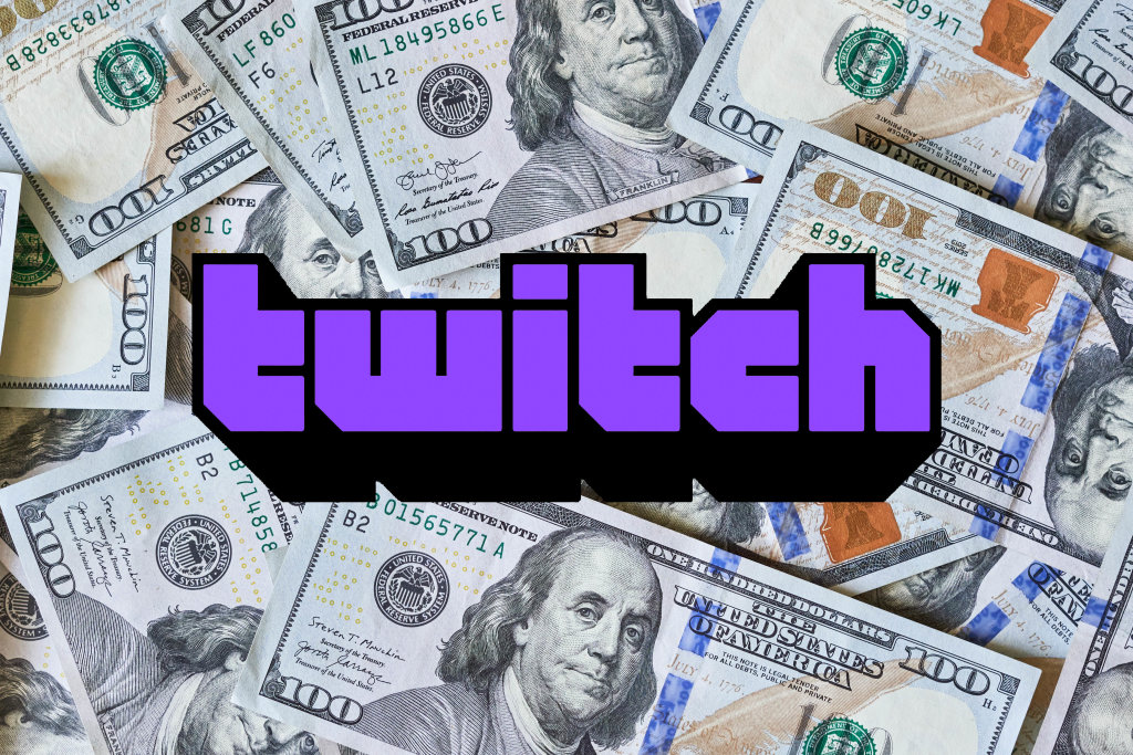 Pile of US money and Twitch logo